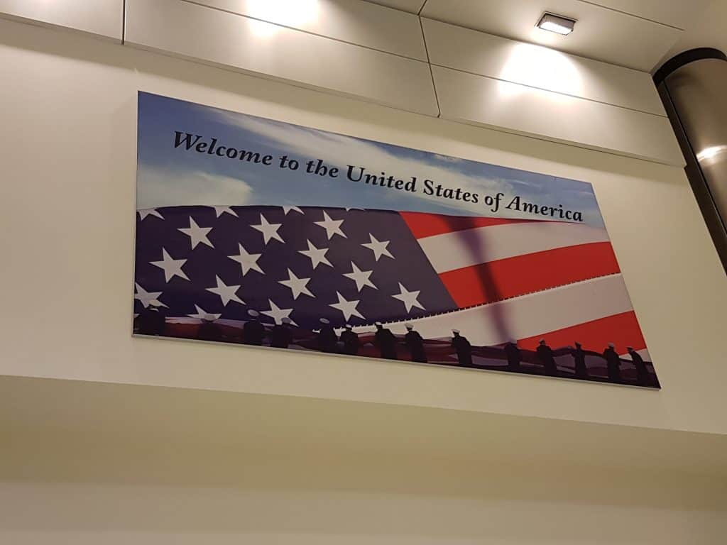 US flag welcome sign at Los Angeles airport