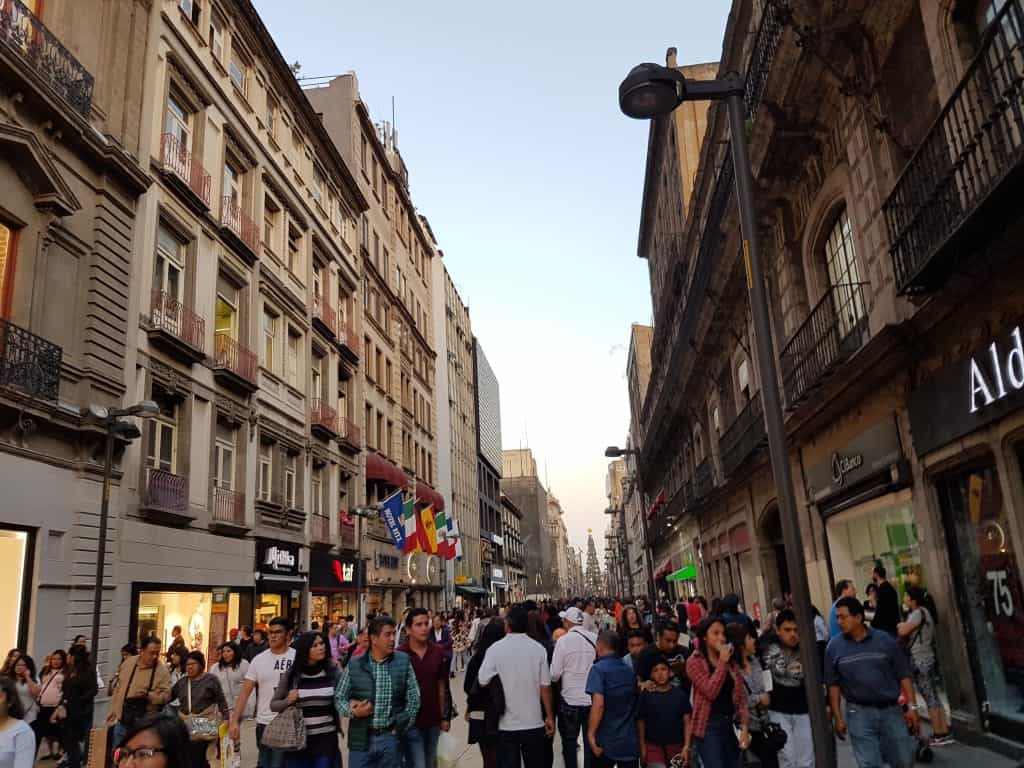 Busy main street in Mexico City