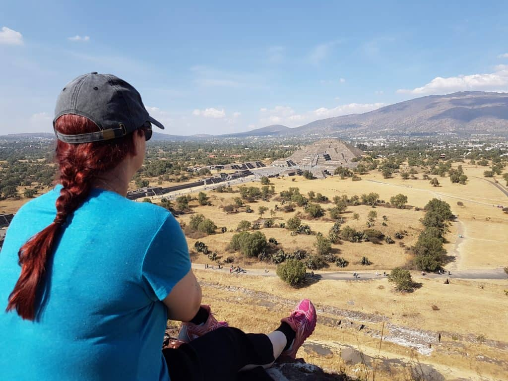 The Pyramid of the Moon from the top of the Pyramid of the Sun at Teotihuacan, Mexico