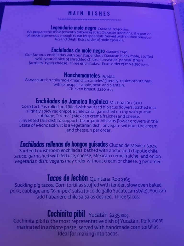 Page from menu at Azul restaurant, Mexico City