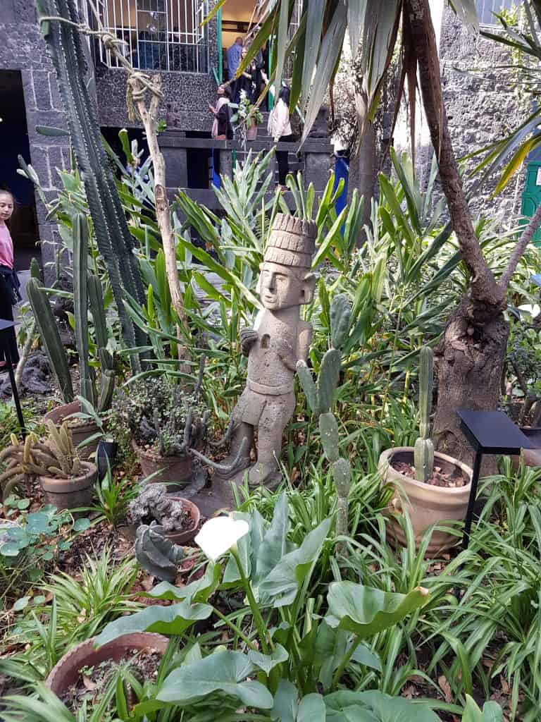 Mexican statue in Frida Kahlo's garden