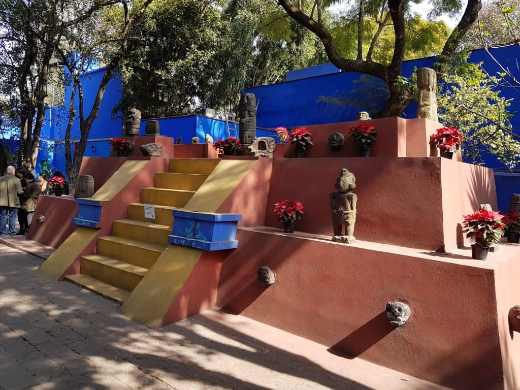 Pyramid structure in Frida Kahlo's garden in Mexico City