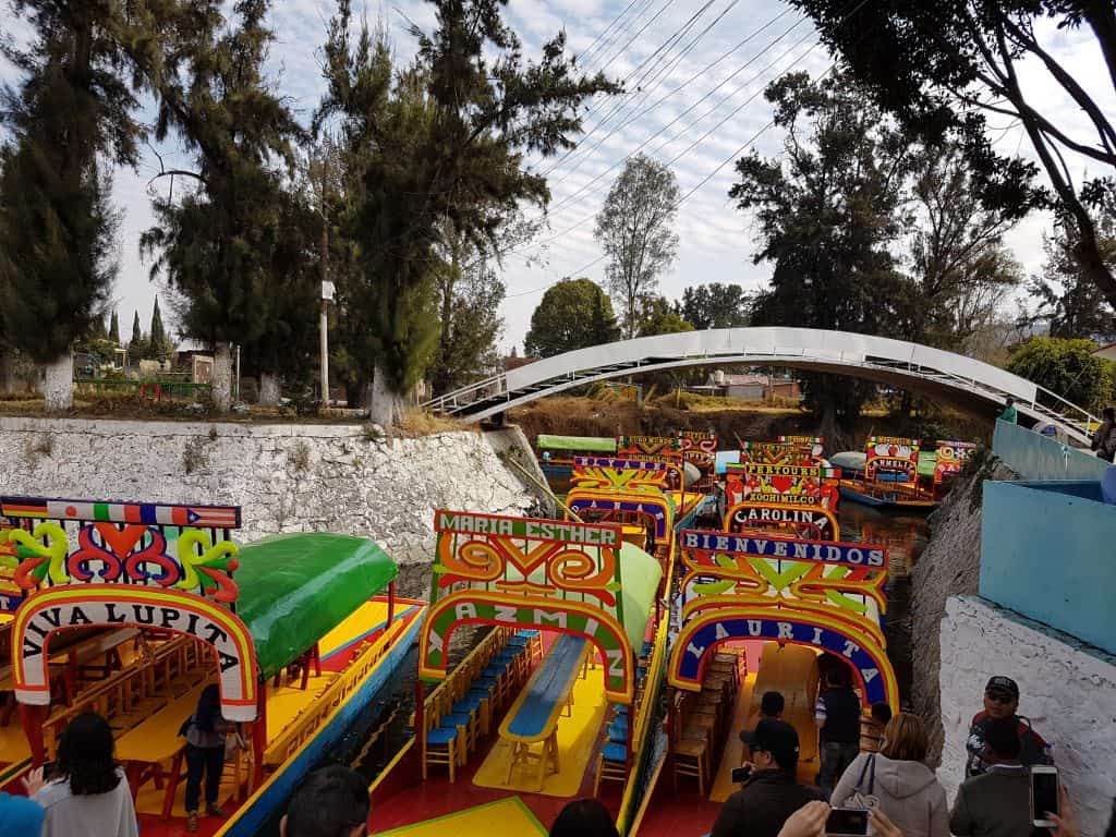 Boats floating on canals of Xochimilco