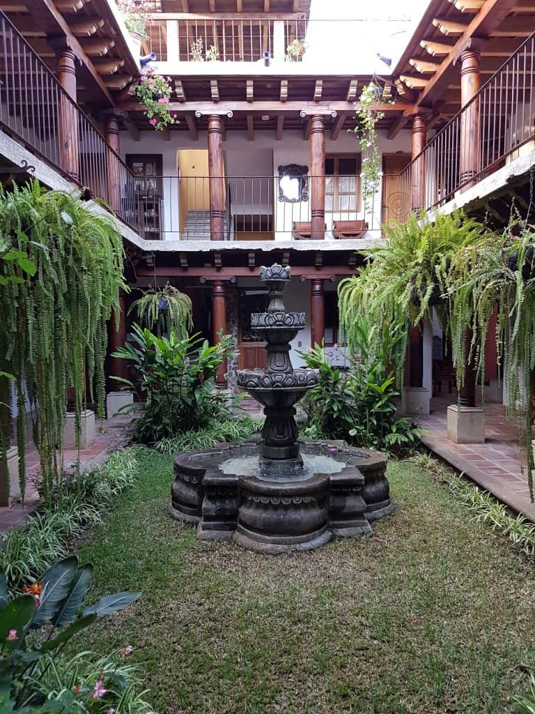 Fountain in the courtyard of Hotel Candelaria, Antigua Guatemala