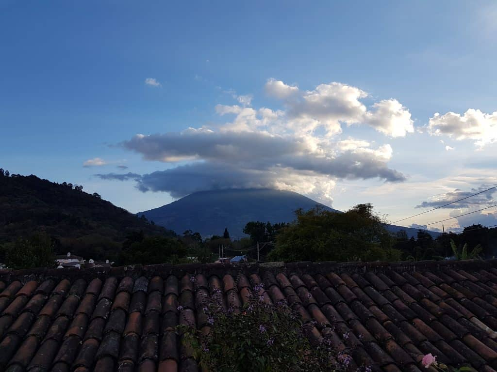 Volcan Agua from the rooftop of Hotel Candelaria, Antigua Guatemala