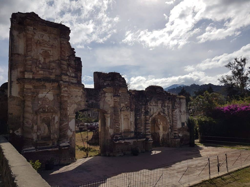Earthquake damaged ruins of stone building in Antigua, Guatemala