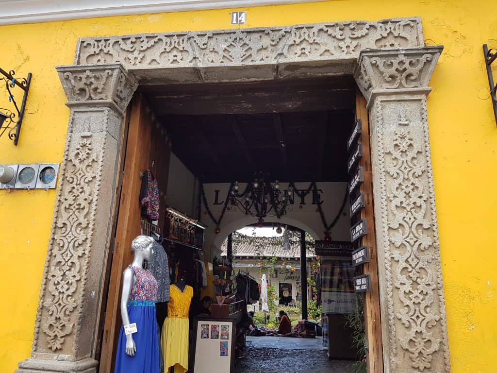 Ornate carved stone entry to store in Antigua, Guatemala