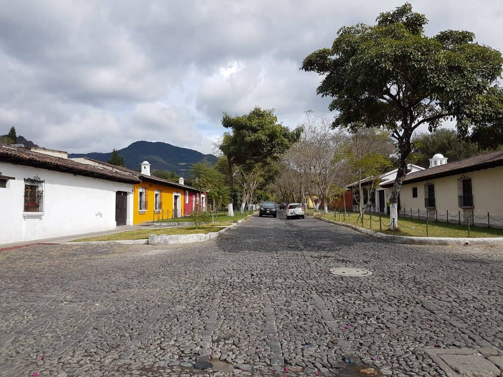 Cobblestone streets on the outskirts of Antigua Guatemala