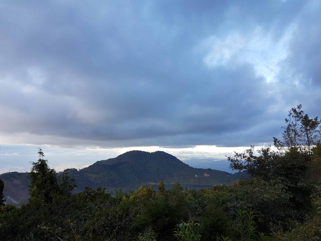Image taken from base of Volcan Pacaya in Guatemala featuring Calderas Lagoon in the distance