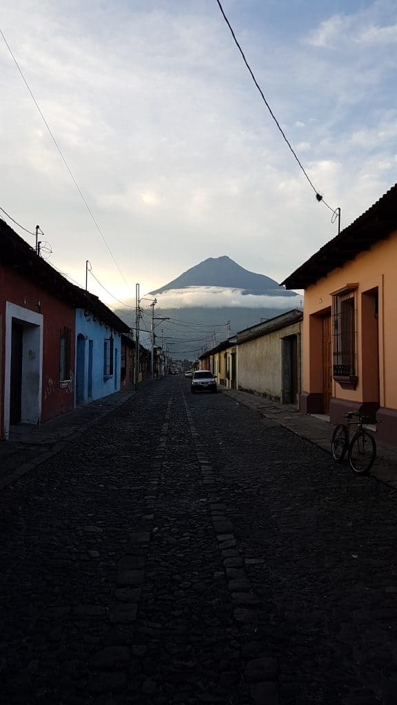 Volcan Agua watching over the streets of Antigua Guatemala