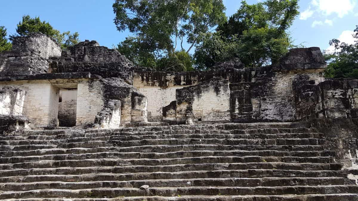 Within the Central Acropolis at Tikal, set of stone steps leading up from the internal courtyard up to more of the building