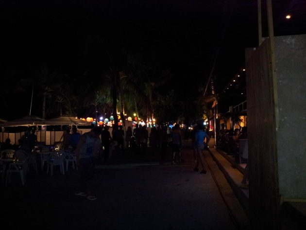At night White Beach becomes a strip of beach bars