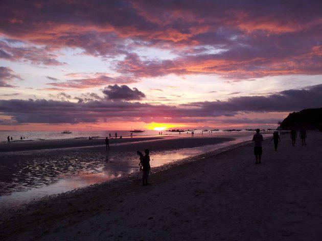 Sunset on White Beach, Boracay Philippines