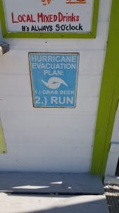 Funny sign about hurricane evacuation
