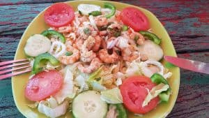 Shrimp salad by the beach