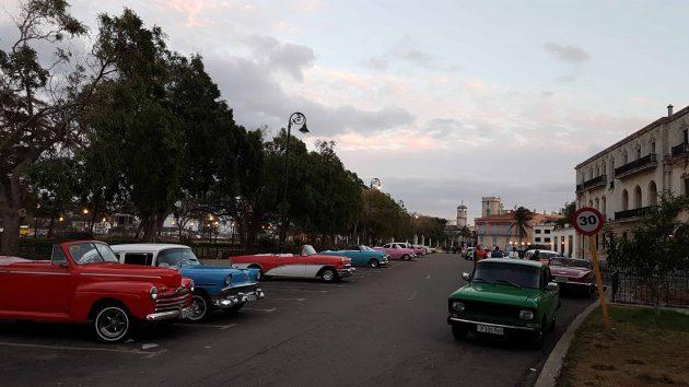 Old cars lined up in Havana Cuba