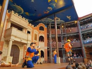 The players dressed as tradies in production of Shakespeares Midsummer Nights Dream at Popup Globe Sydney