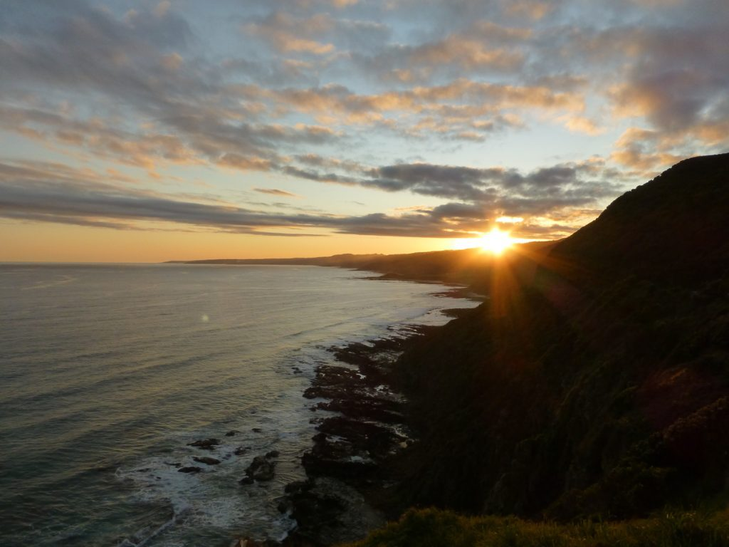 Sunset over Apollo Bay on the Great Ocean Road Victoria