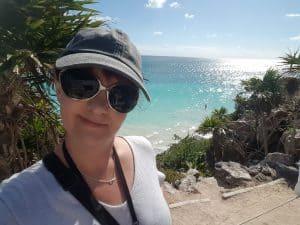 Selfie with ocean view behind