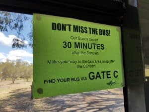 Sign advising of what gate to meet bus at after the Hunter Valley concert