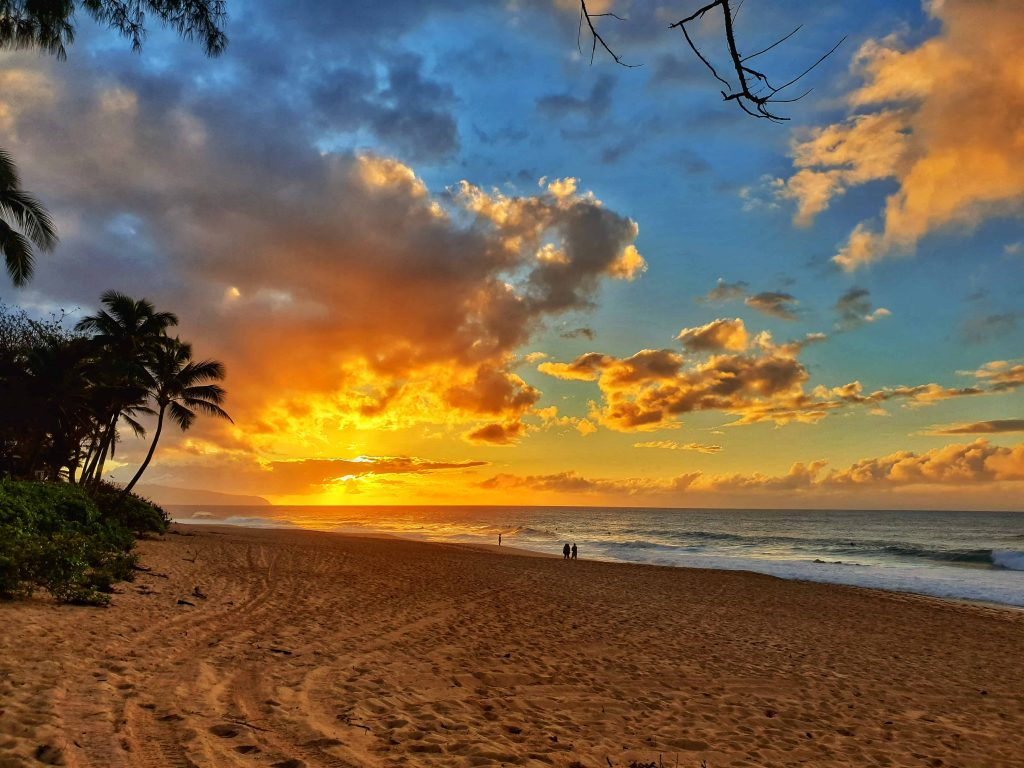 Sunset on the North Shore of Oahu, Hawaii, taken fom Pipeline beach