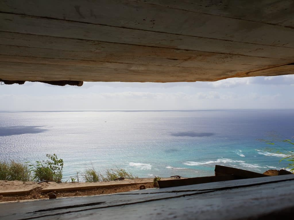 looking out from inside the military lookout point on Diamond Head Waikiki