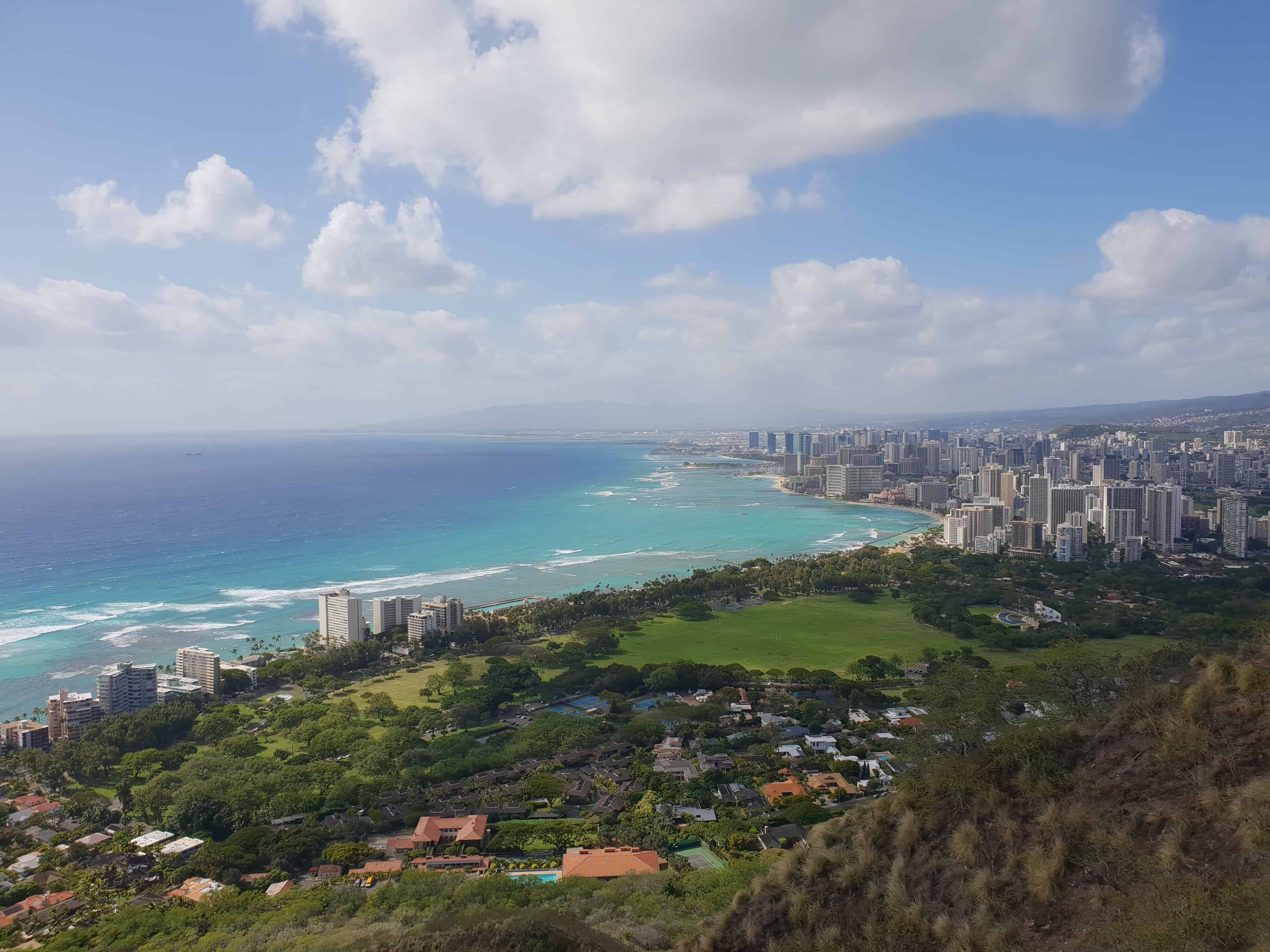 Looking out towards Waikiki and Honolulu from the top of Diamond Head crater
