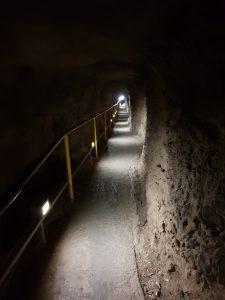 Tunnel through rock on Diamond Head hike Waikiki