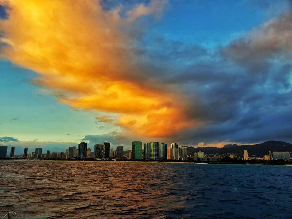 sunset skies over Honolulu