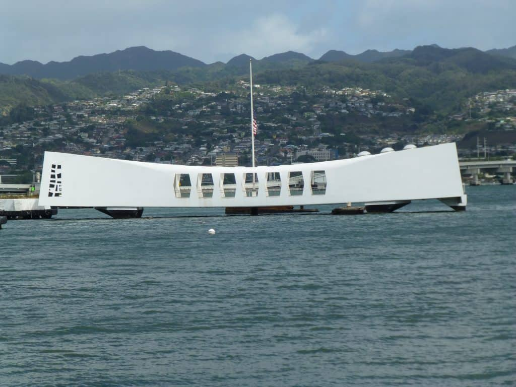 The USS Arizona Memorial marks the resting place of the USS Arizona battleship, sunk in the Japanese attack on Pearl Harbor