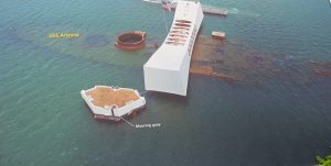 Image from above of the Arizona Memorial with the USS Arizona visible underwater beneath it