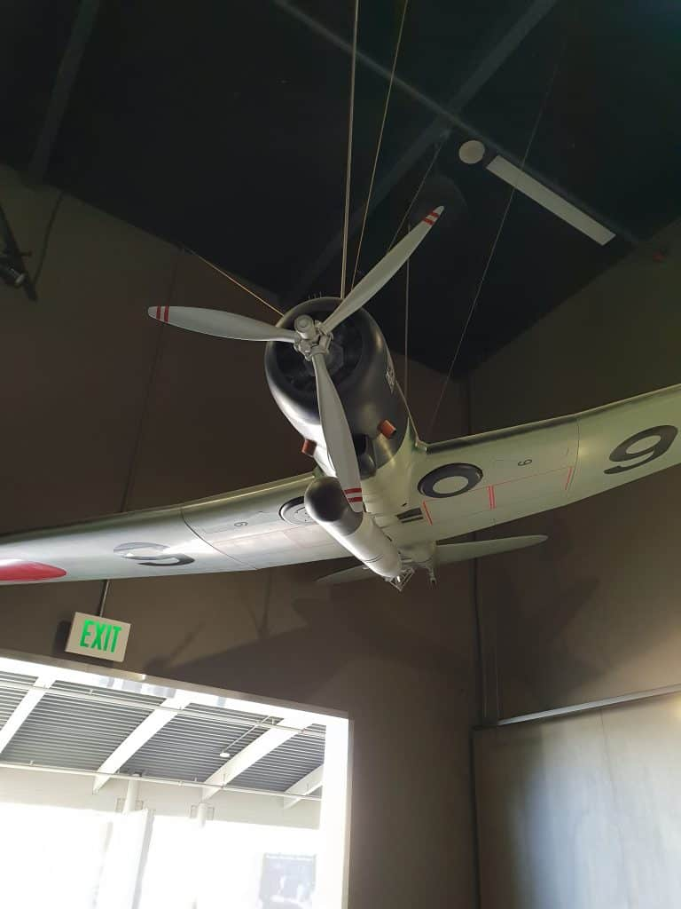 Replica of the Japanese planes used in the attack on Pearl Harbor hanging in the Attack exhibit