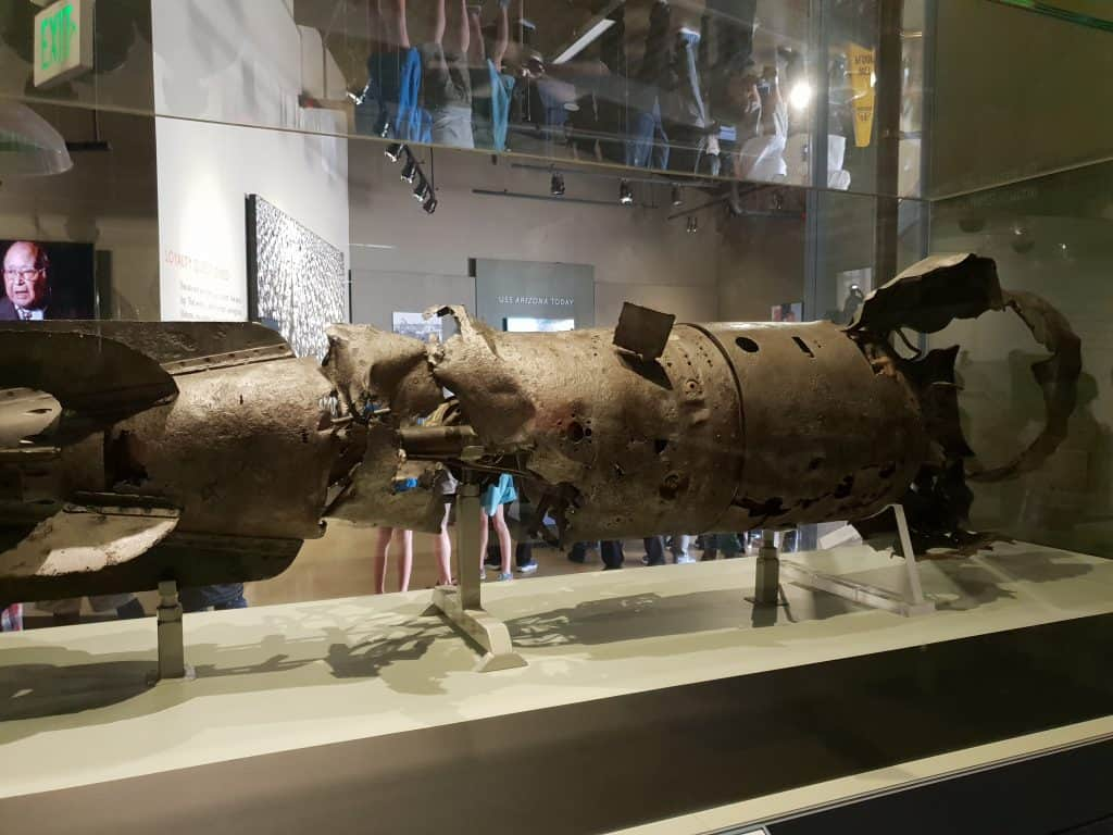 Rear section of a 20 foot Japanese aerial torpedo, on display in the Attack exhibit at Pearl Harbor