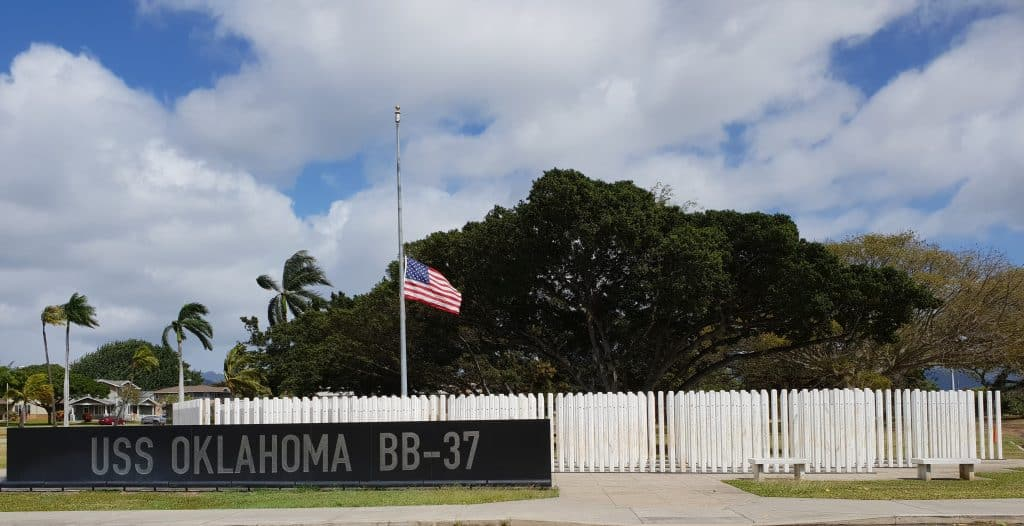 The USS Oklahoma Memorial on Ford Island, Pearl Harbor