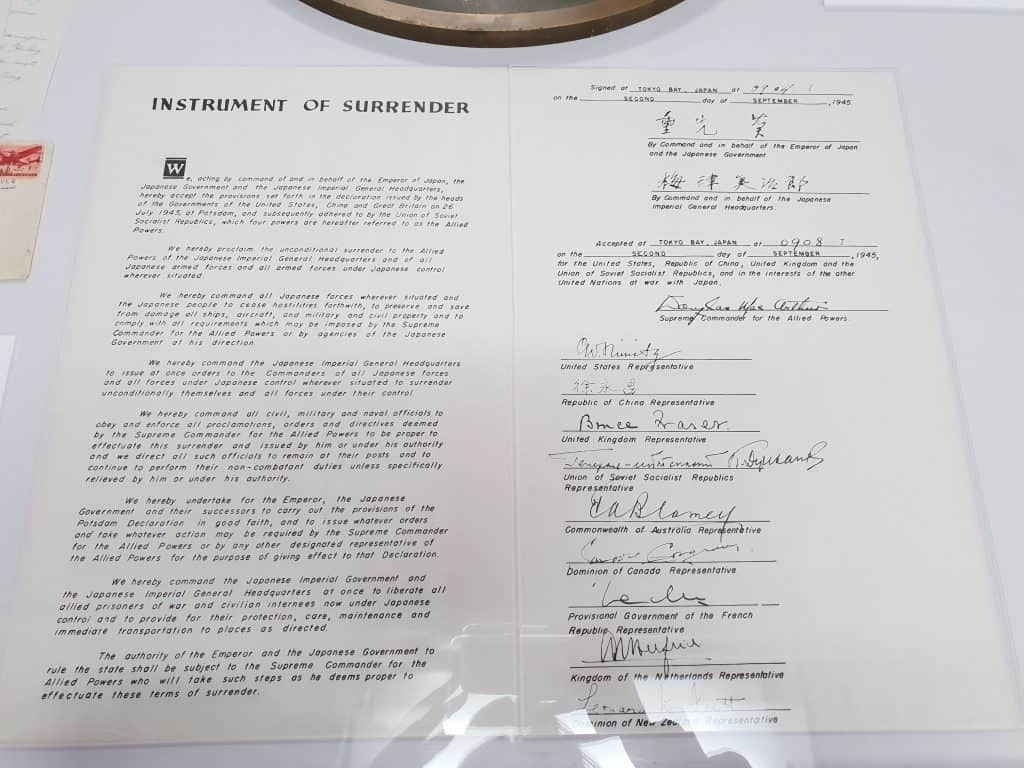 Instrument of Surrender on display on board the USS Missouri at Pearl Harbor, Oahu