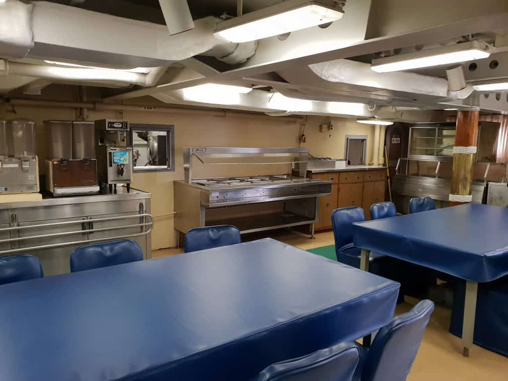 The mess hall on board the USS Missouri at Pearl Harbor