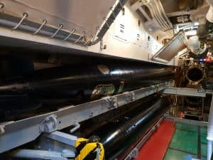 Torpedoes and torpedo tubes inside the USS Bowfin at Pearl Harbor