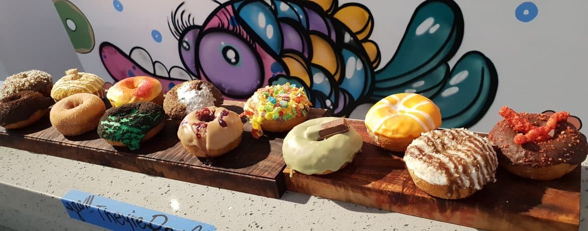 Colourful donuts on offer at Purve Donut Stop