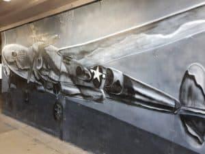 Painting of a bomber inside WW2 bunker Battery Cooper, Kualoa Ranch Oahu