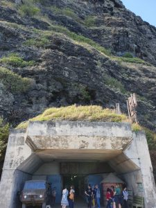 The entrance to Battery Cooper, a WW2 bunker stretching under a mountain
