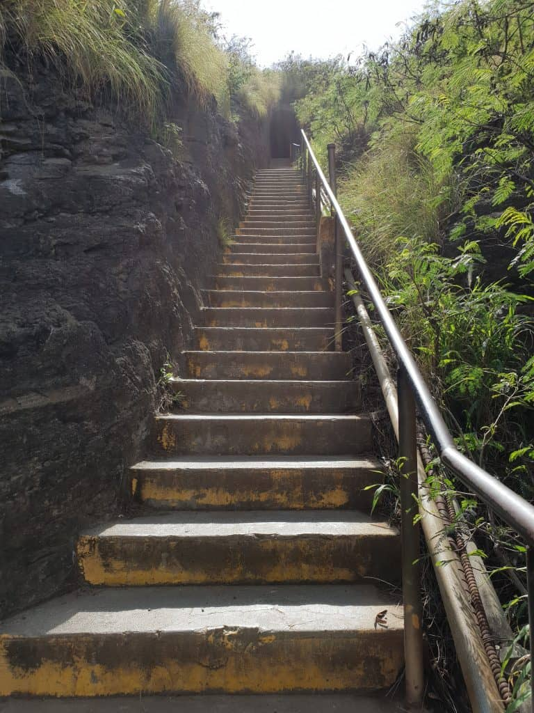 Staircase leading up to one of the tunnels, Diamond Head State Monument