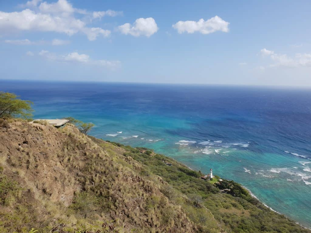 Helipad halfway up the Diamond Head crater and the Diamond Head Lighthouse in the distance