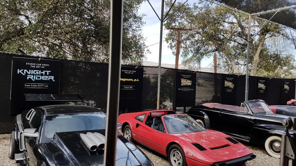 Cars from Knight Rider and Back to the Future on the Universal Studios lot, Los Angeles