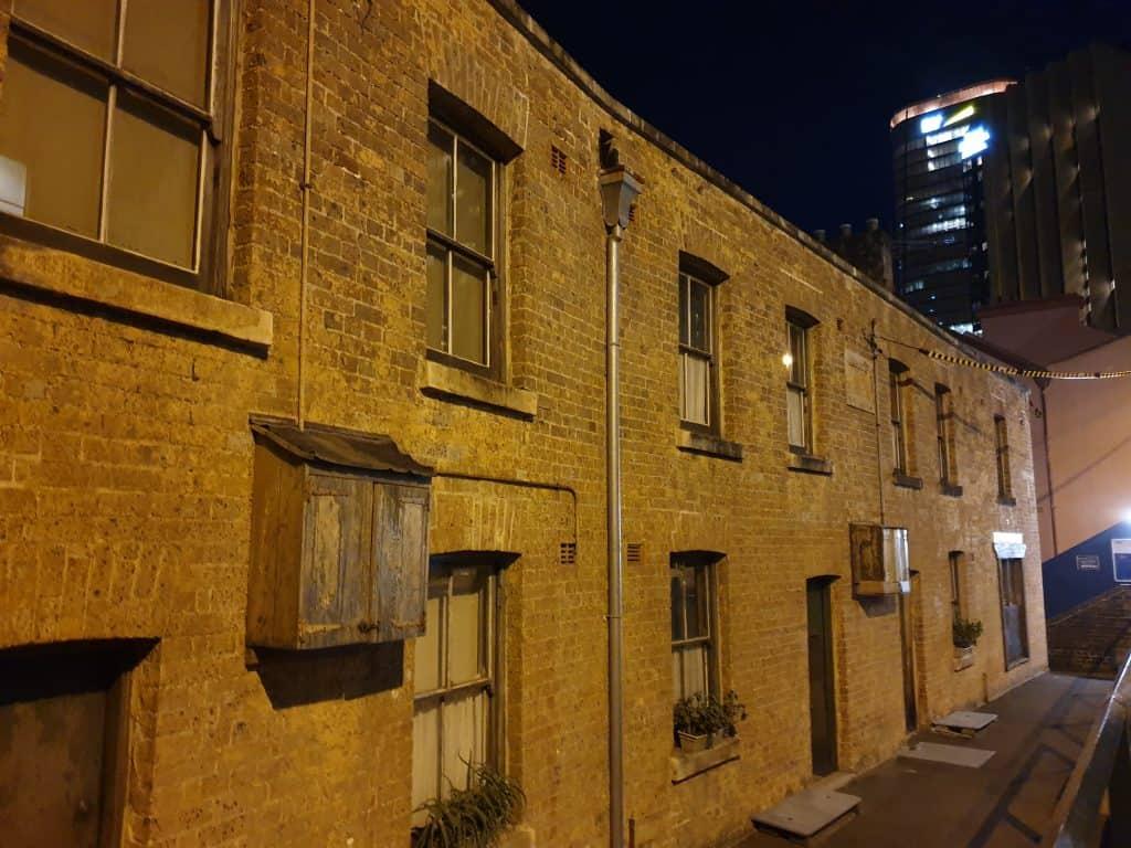 Susannah Place terraces from Gloucester Street, on Lantern Ghost Tour Sydney