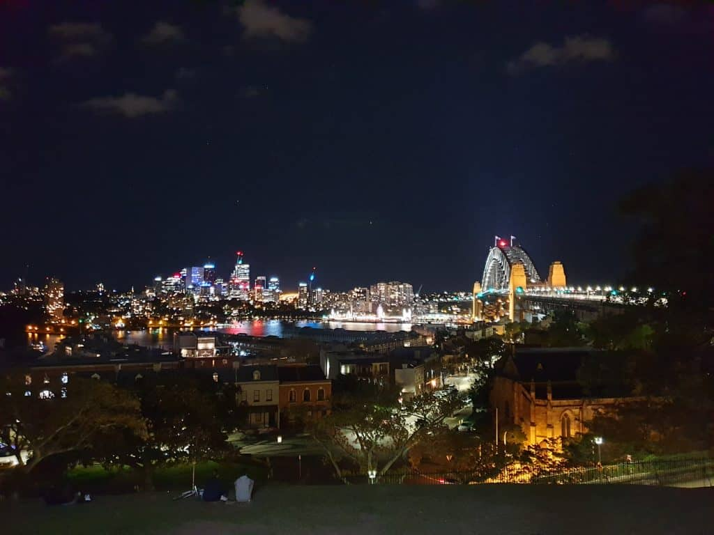 Sydney at night from Observatory Hill, on Lantern Ghost Tour Sydney