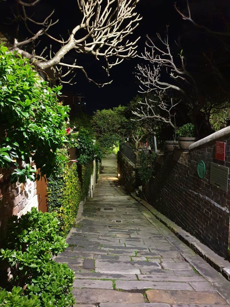 Alley by night in The Rocks