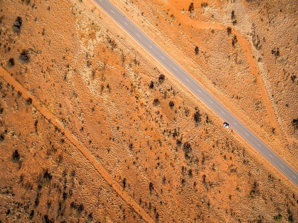 Aerial photo of road from Alice Springs courtesy of Walk My World