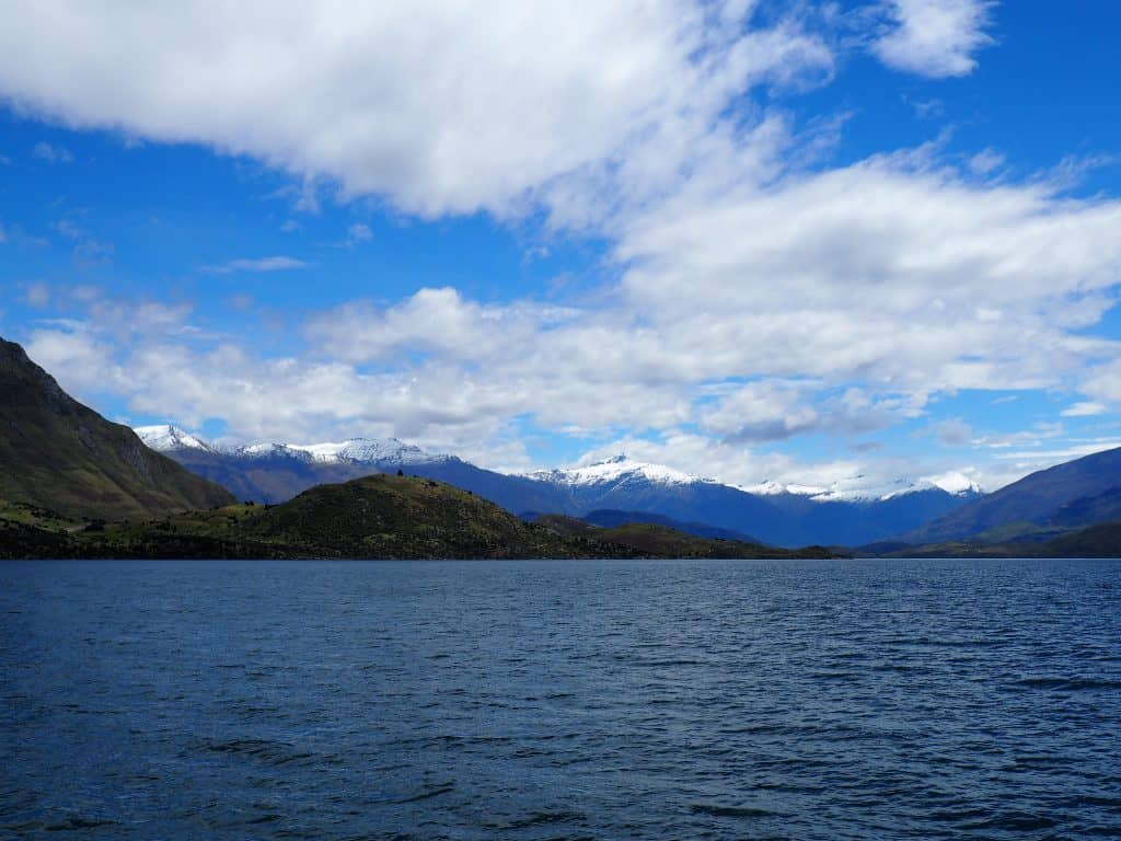 Southern Alps and Mt Aspiring over Lake Wanaka