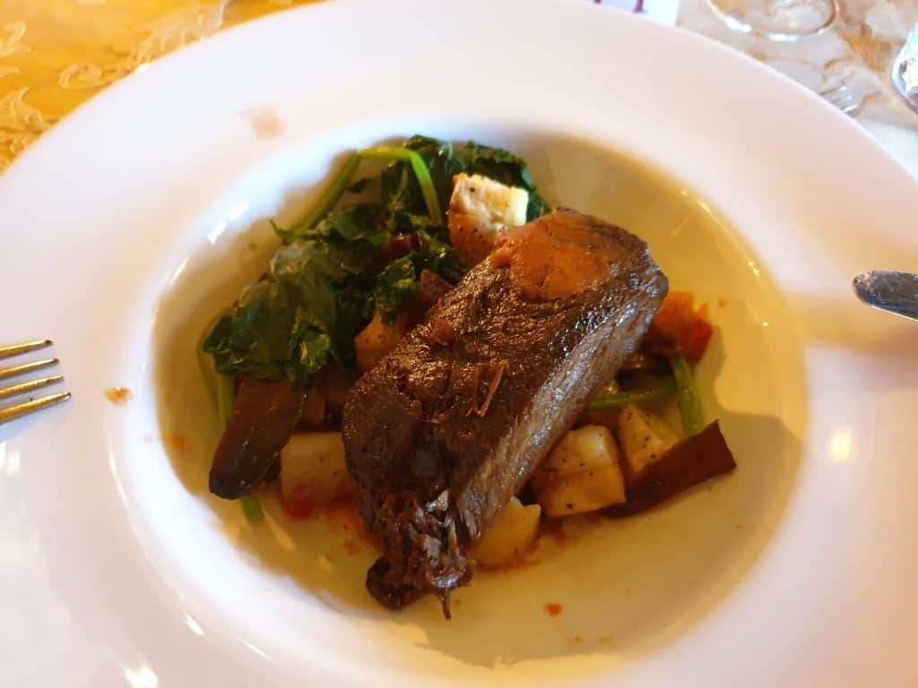 Braised Beef Cheek served as main at Larnach Castle