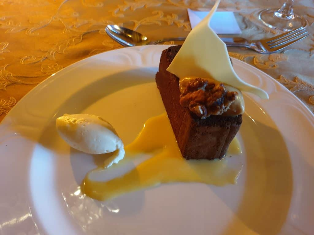 Chocolate Brownie served for Dessert at Larnach Castle